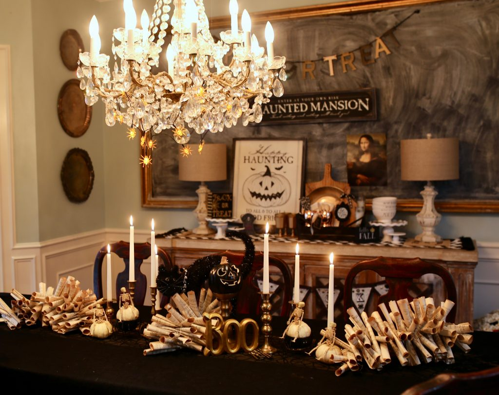 Spooky Glam Halloween Decorations for a Dining Room