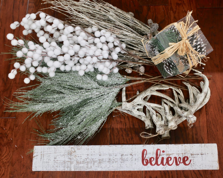 DIY christmas centerpiece materials