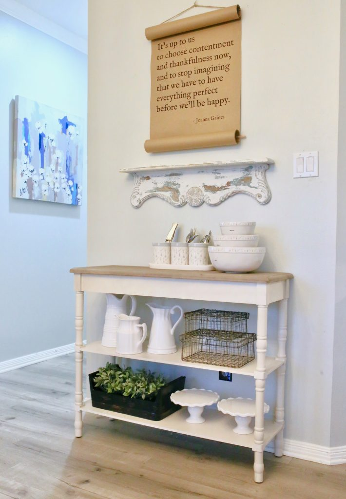 console table shelf styling