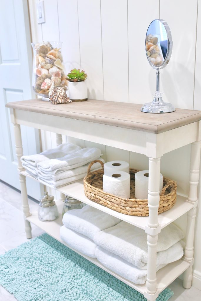 console table in bathroom