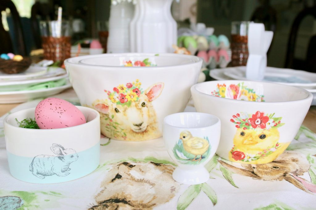 easter decor and dishes