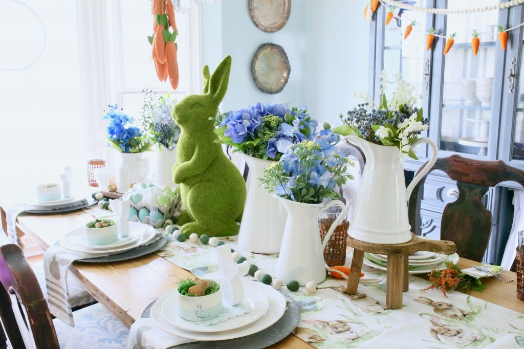 easter tablescape with bunny theme