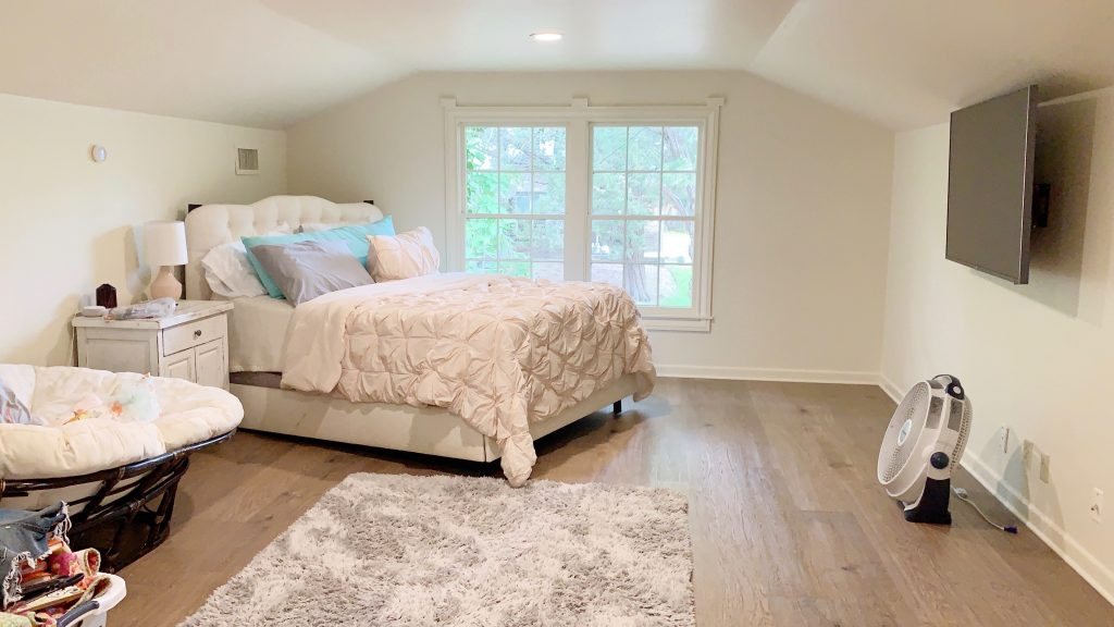 The before of this teen girl bedroom was not arranged to create inviting spaces.